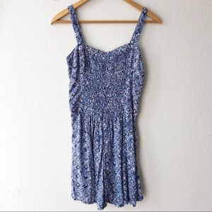 Abercrombie & Fitch Smocked Paisley Romper Blue